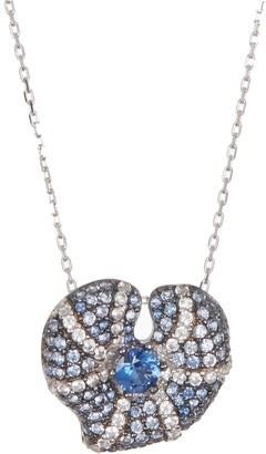 Suzy Levian Sterling Silver Center Sapphire Heart Pendant Necklace