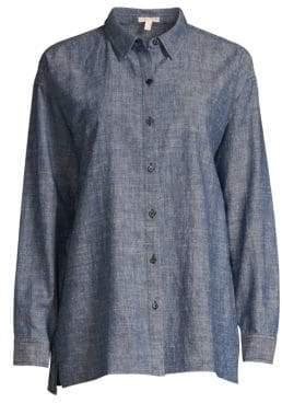 Eileen Fisher Women's Chambray Button-Down Shirt - Denim - Size XXS