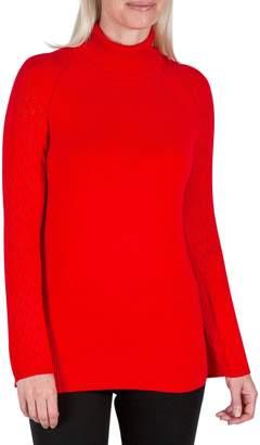 Haggar Petite Pointelle Sleeve Sweater