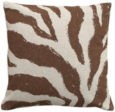 123 Creations Zebra Hand-Printed Linen Pillow, Chocolate