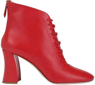 Miu Miu Lace Up Ankle Block Heel Boots