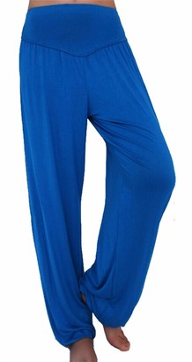 Smile Fish Women's Harem Style Trousers High Waist Lounge Thin Pants or Exercise or Around The House(Blue XL)