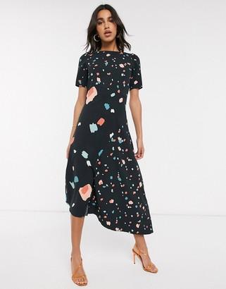 Closet London asymmetric midi dress in abstract print