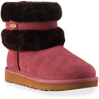 UGG Fluff Mini Belted Suede Ankle Boots