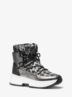 MICHAEL Michael Kors Cassia Cheetah-Print Nylon and Mirror-Metallic Boot