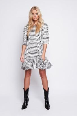 Arri London Demi Satin Drop Waist Dress In Black & White Star Print