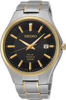 Seiko Mens Two-Tone Titanium Solar Watch SNE382