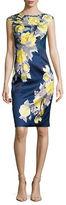 Kay Unger Lace-Trimmed Floral Sheath Dress