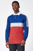 adidas Rugby Nautical Long Sleeve Polo Shirt