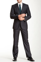 English Laundry Charcoal Solid Two Button Notch Lapel Wool Suit