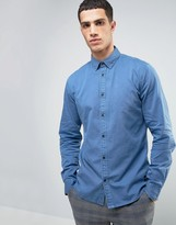 Solid Denim Shirt In Faded Wash And Regular Fit