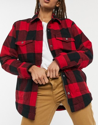 Dickies plaid sherpa chore jacket in red and black