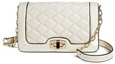Merona Women's Faux Leather Quilted Crossbody Handbag with Turn Lock Closure and Chain Strap