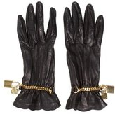 Moschino Leather Chain-Link Gloves