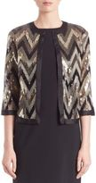 Harrison Morgan Sequined Open-Front Jacket