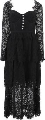 Self-Portrait Lace Tiered Midi Dress