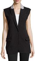 Norma Kamali Pinstripe Button-Front Vest, Black/Heather Gray