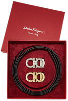 Salvatore Ferragamo Reversible Leather Gancini Belt Boxed Gift Set, Black/Brown