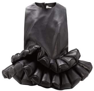 Noir Kei Ninomiya Double-peplum Faux-leather Top - Womens - Black