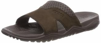 Crocs Swiftwater Leather Slide M Mens Open Toe Sandals