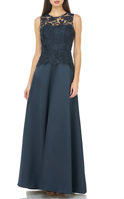 Carmen Marc Valvo Sleeveless Lace Bodice Full Skirt A-Line Gown