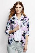 Lands' End Women's Petite Classic Supima Cardigan Sweater-Pale Lilac Floral