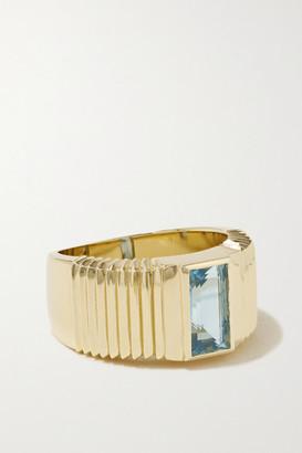 Retrouvaí Pleated Solitaire 14-karat Gold Aquamarine Ring