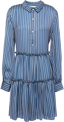Maje Gathered Striped Satin Mini Shirt Dress