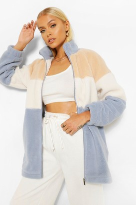 boohoo Teddy Colour Block Zip Through Jacket