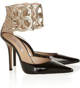Oscar de la Renta Attama cutout metallic and patent-leather pumps