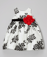Nannette Black & White Rose Babydoll Dress - Toddler
