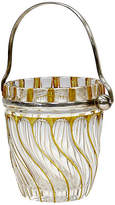 One Kings Lane Vintage Antique English Crystal Ice Bucket - Rose Victoria - clear/silver/brown
