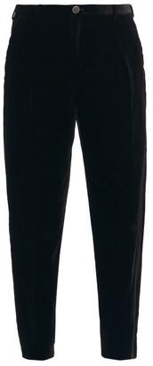 Saint Laurent Corduroy-velvet Cropped Trousers - Black