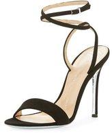 Giuseppe Zanotti Kloe Suede Ankle-Wrap 110mm Sandal, Black