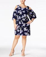 Connected Plus Size Floral-Print Cold-Shoulder Dress
