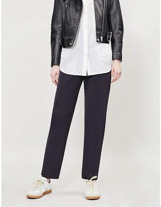 Joseph Electra Comfort high-rise boyfriend-fit wool-blend trousers