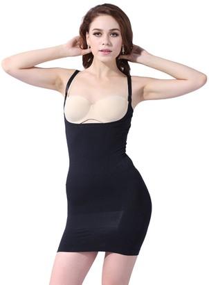 Franato Women's Seamless Open-Bust Mid-Thigh Slips Medium Black
