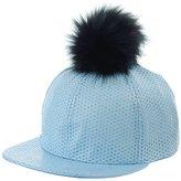 NYFASHION101 Unisex Style Faux Fur Pom Pom Snapback Flat Bill Cap Hat - Faux Croc Bill, Purple/Black