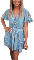 Thumbnail for your product : AX Paris Floral Print V Neck Frill Dress