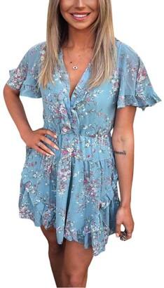 AX Paris Floral Print V Neck Frill Dress