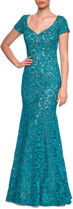 La Femme Floral Lace V-Neck Short-Sleeve Mermaid Gown