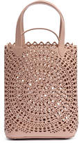Alaia Beige laser-cut leather mini bucket bag