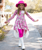 Pink Floral Sidetail Tunic & Leggings - Girls