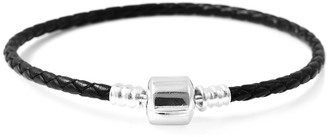 Shop Lc 925 Sterling Silver Black Faux Leather Bracelet Size 7.75 Inches - Bracelet 7.75''