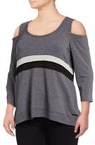 Calvin Klein Performance Plus Tri-Tone Cold Shoulder Top