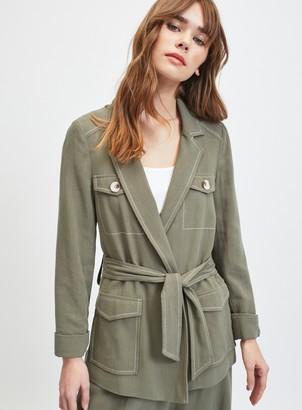 Miss Selfridge Khaki Longline Blazer With Linen
