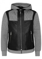 Neil Barrett Layered Leather And Neoprene Jacket