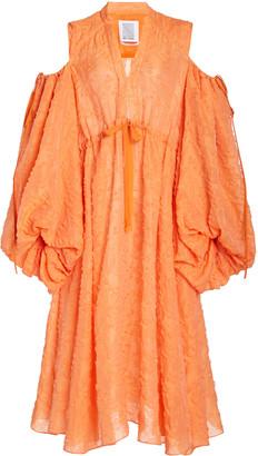 Rosie Assoulin Cold-Shoulder Cotton-Blend Midi Dress