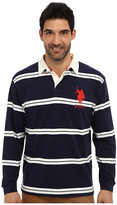 U.S. Polo Assn. Striped Long Sleeve Jersey Polo w/ White Collar