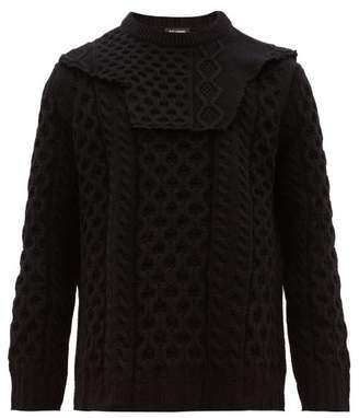 Raf Simons Detachable Panel Honeycomb Knit Wool Sweater - Mens - Black